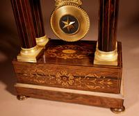 A Very Stylish Charles X Rosewood/Palisandre Inlaid With Lemon Wood and Ormolu Portico Clock Circa: 1830 (11 of 15)