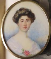 Hand Painted Edwardian Miniature Portrait Young Lady 1910 (2 of 5)