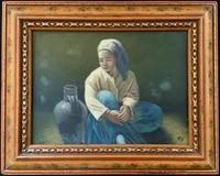 Beautiful Original Vintage Continental Oil Portrait Painting of a Seated Girl