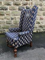 Antique English Walnut High Back Wing Armchair (3 of 8)