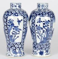 Chinese Pair of Large Blue & White Panel Vases with Figures Qing Dynasty (16 of 25)