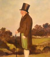 English Naive Oil  Painting of Gentleman (4 of 7)