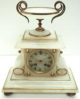 Fine French 8-Day Mantel Clock Alabaster Clock with Ormolu Mounts Striking A Bell (7 of 10)