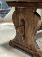 Larger French Bleached Oak Trestle Farmhouse Dining Table (7 of 21)