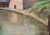 Large Early 1900s North African Cityscape with Mosque Oil Painting on Canvas (6 of 15)