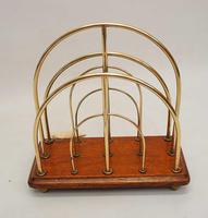 Victorian William Tonks Brass & Oak Desk Top Magazine or Letter Rack (8 of 11)