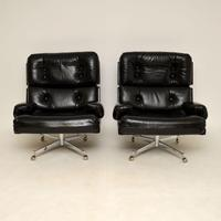 Pair of Vintage Leather / Chrome Armchairs & Ottoman by Howard Keith (13 of 16)