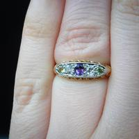 Antique Amethyst Peridot and Diamond Scroll Boat 18ct Yellow Gold Ring (5 of 10)
