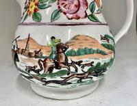 Antique Staffordshire Pottery Jug Country Sporting Pursuits c.1850 (2 of 9)