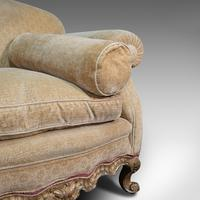 Antique 2 Seat Sofa, French, Textile, Beech, Settee, C.1900 (11 of 12)