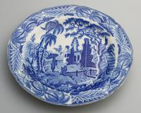 Davenport - Early Pottery Chinoiserie Ruins Blue & White Plate c.1800 (2 of 3)