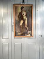 Antique Nude Oil Painting Portrait of Seated Figure by Alys Woodman RBSA (10 of 10)