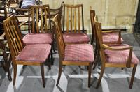 Gplan 1960s Set 6 Quality Walnut Dining Chairs Pink Stripe Seats (2 of 4)