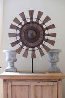 Teak & Wrought Iron fan sculpture