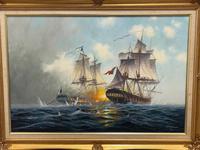 "Seascape Oil Painting Naval Frigate Ships Napoleonic War Sea ""Battle Trafalgar"" (2 of 25)"
