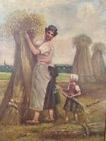 Antique French oil painting landscape harvest scene signed E Cornaud dated 1888 (6 of 10)