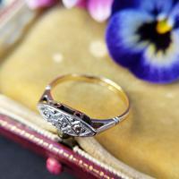 Antique Art Deco 18ct Yellow Gold & Diamond Boat Ring (6 of 7)