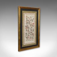 Antique Framed Silk Panel, Oriental, Embroidered, Decorative, 100 Children, 1900