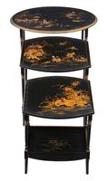 Victorian Oriental Chinoiserie Nest of Decorated Black Lacquer Tables (5 of 10)