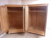 Superb Plain Large Pair of Antique Pine 2 Door Wardrobes to wax / paint (9 of 11)