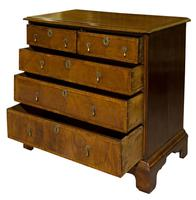 Queen Anne Oak & Walnut Chest of Drawers with running scroll (7 of 8)