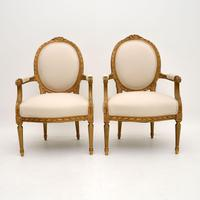 Pair of Antique French Giltwood Salon Chairs (2 of 11)