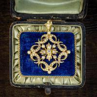 Antique Victorian Pearl Diamond Pendant Brooch 18ct Gold c.1900 (6 of 6)