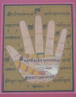Rare Set of 4 Antique Indian Paintings Palmistry & Solestry (7 of 8)