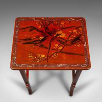 Antique Nest of 3 Occasional Side Tables, Oriental, Japanned, Victorian c.1900 (10 of 12)