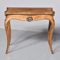 French Victorian Yew & Rosewood Fold-over Card Table / Games Table (6 of 11)