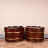 Pair Of Large Oval Oak Brass Bound Log Buckets (21 of 21)