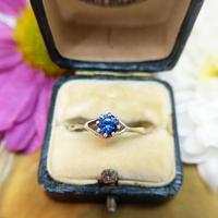 Vintage Dainty 18ct Gold Created Sapphire Evil Eye Ring (5 of 10)