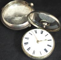 Great Antique Silver Pair Case Pocket Watch Fusee Verge Escapement Key Wind Enamel Dial Johnson London (4 of 10)