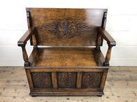 Antique Carved Oak Monks Bench Hall Seat (2 of 10)