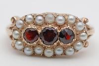 Vintage Garnet & Pearl Gold Ring