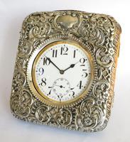 Antique Silver Cased Travel Clock, 1898
