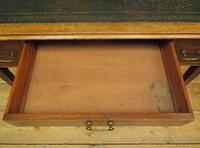Antique Writing Table with Drawers and Aged Leather Top (8 of 19)