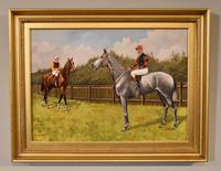 """Oil Painting Pair by Walter Vernon """"Racehorse Scenes"""" (2 of 11)"""