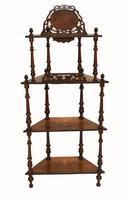 Victorian Whatnot Bookshelf Antique 1860 Furniture (12 of 13)