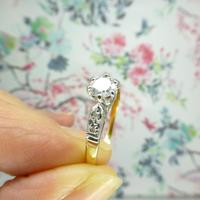 Art Deco 18ct Platinum Diamond Solitaire Engagement Ring 0.35ct (4 of 10)