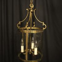 French Convex Gilded Brass Triple Light Antique Hall Lantern (2 of 10)