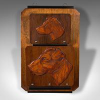 Antique Decorative Dog Letter Rack, English, Mahogany, Oak, Wall, Edwardian (2 of 8)