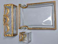 19thc Antique French Gilt Bronze Ormolu & Cut Crystal Desk Set - Letter Rack Holder, Pen / Note Tray & Pot (13 of 17)
