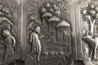 Antique Burmese Silver Belt Buckle, High Relief Repousse, Figures and a Cow c.1880 (8 of 8)
