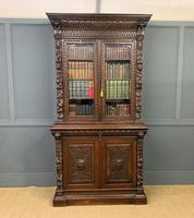Imposing Carved Oak Bookcase