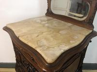 Antique French Walnut Bedside Cabinets Marble Tops & Mirrors Pot Cupboards (14 of 16)