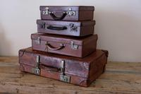 Large Vintage Brown Leather Suitcase (13 of 15)