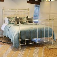 Cream Brass and Iron Antique Bed