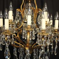 French Gilded Bronze 17 Light Crystal Chandelier (4 of 10)