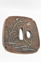 Fine & Heavy Signed Bronze Tsuba Overlaid with a Silver Heron (4 of 7)